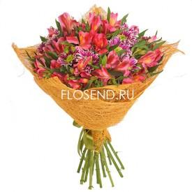 Букет из альстромерий и кустовых хризантем