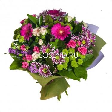 Букет из гербер и кустовых роз